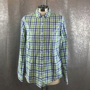 J. McLaughlin plaid button down shirt